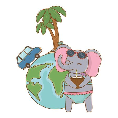 cute animal elephant enjoying summer time vacations holidays cartoon vector illustration graphic design Banque d'images - 137863119