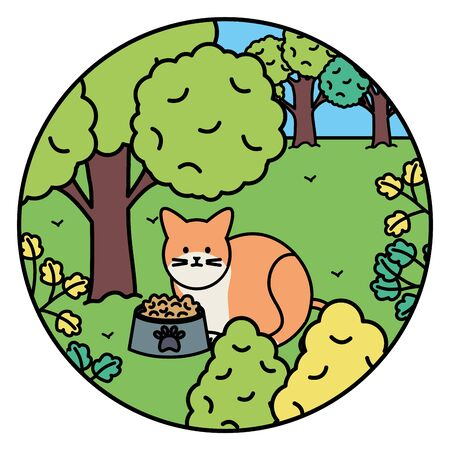 cute cat mascot adorable in the landscape vector illustration design 向量圖像