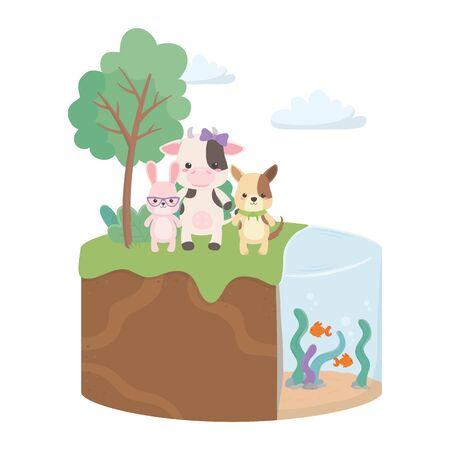 Cow dog and rabbit cartoon design, Animal cute zoo life nature and fauna theme Vector illustration