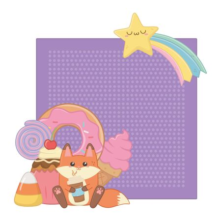 Fox cartoon design, Kawaii expression cute character funny and emoticon theme Vector illustration