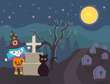 girl witch and black cat tomb trick or treat - happy halloween vector illustration Ilustrace