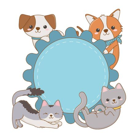 Cats and dogs cartoons design, Mascot pet animal domestic cute life nature and fauna theme Vector illustration