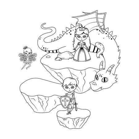 princess dragon fairy and knight of fairytale design