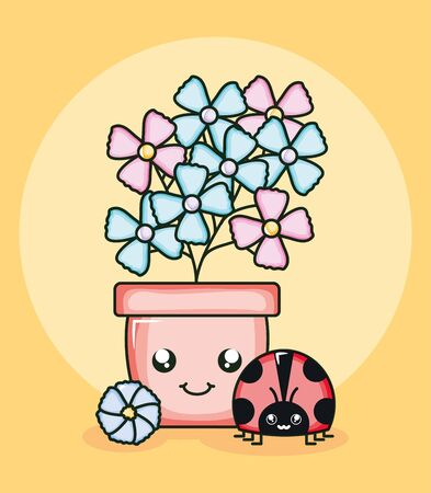 garden flowers plant in pot with ladybug kawaii style