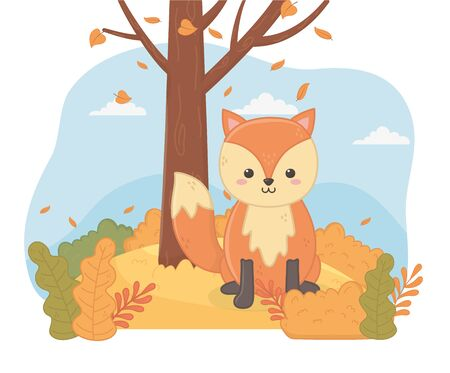 cute animal autumn season flat design