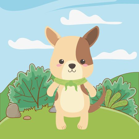 Dog cartoon with kerchief design
