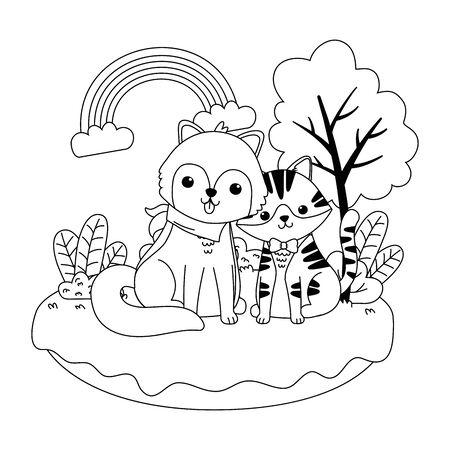 Cat and dog cartoon design vector illustration