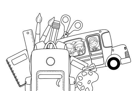 School bus and icon set design