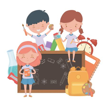 Boy and girls kid of school design