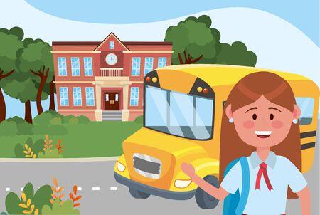 Girl kid and bus school design Ilustrace