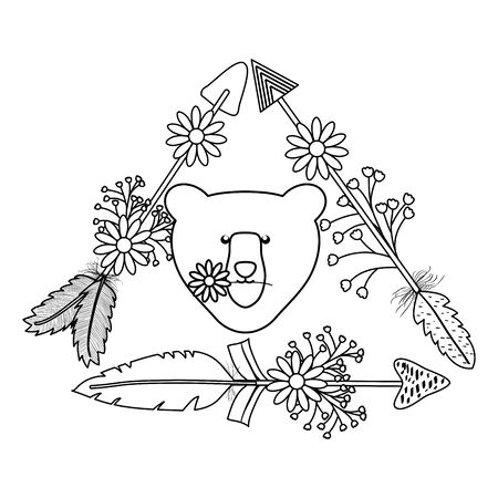 bear grizzly with feathers and arrows bohemian style Illustration