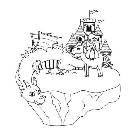 Dragon and princess of fairytale design Illusztráció