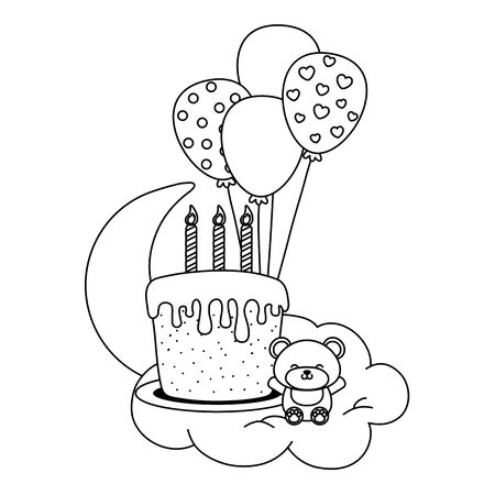 birthday cake with candles and toy bear in black and white