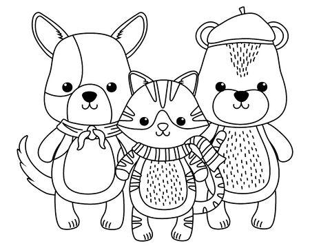 Cat dog and bear cartoon design