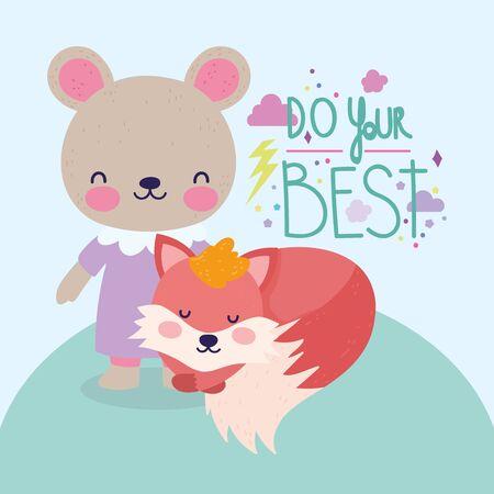 best friends cute female bear and sleeping fox card