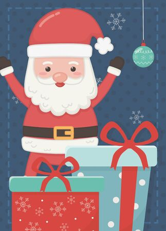santa hands up with gifts merry christmas card 일러스트