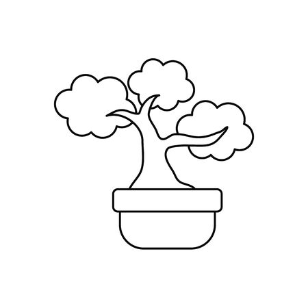 japanese bonsai tree plants line style icon