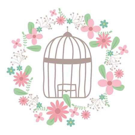 cage bird jail with floral decoration Ilustrace