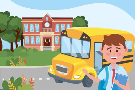 Boy kid and bus school design