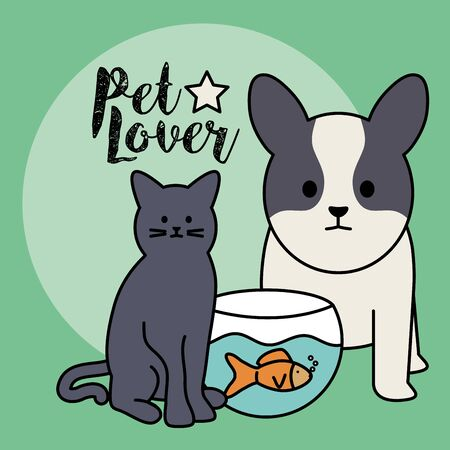 cute cat and dog with fish in aquarium mascots Illustration