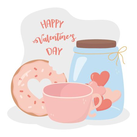 happy valentines day sweet donut coffee cup jar glass heart love card