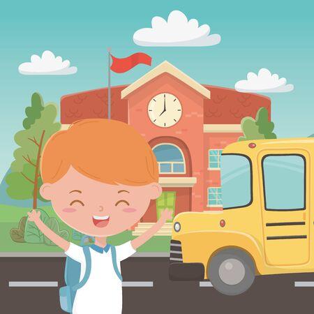 School building bus and boy design