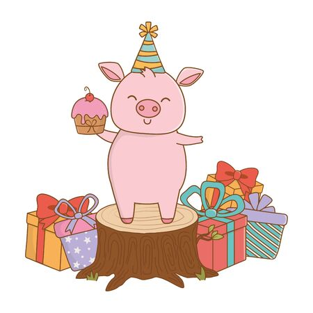 Animal cartoon with Happy Birthday icon design