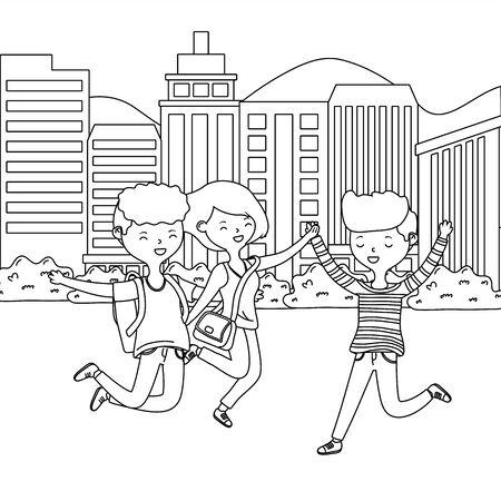 Teenager boys and girl cartoons design