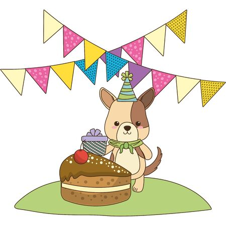 Dog cartoon with happy birthday icon design