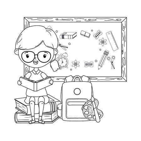 Girl kid of school and blackboard design