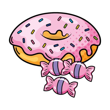donut and candies vector illustration