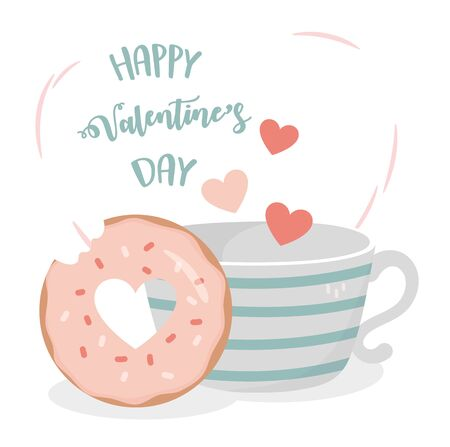 happy valentines day coffee cup sweet donut hearts love