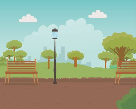 beautiful park landscape scene vector illustration Foto de archivo - 138223013