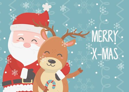 santa and reindeer celebration happy christmas card