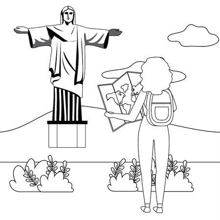Isolated christ redemeer landmark design