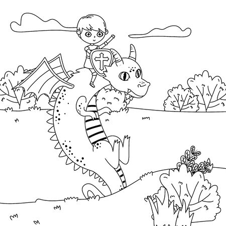 Medieval dragon and knight of fairytale design vector illustration