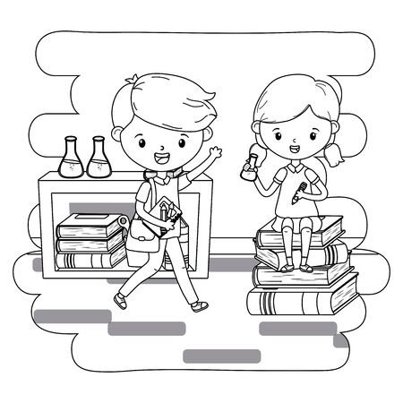 Boy and girl kid of school design