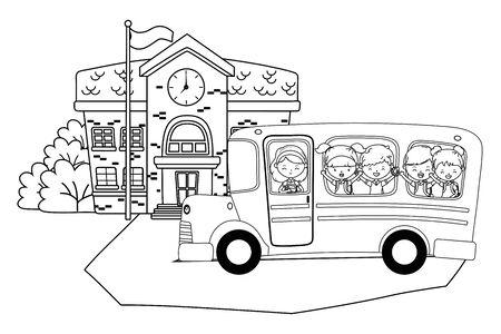 School building kids and bus design