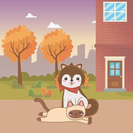 Cat and dog cartoon design Illustration