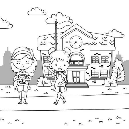 School building and girls design