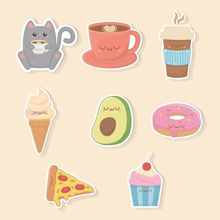 set of food kawaii characters