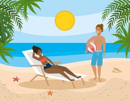 Frau, die Sonne im Solarium nimmt und Mann mit Strandball Vektorgrafik