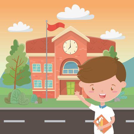 School building and boy cartoon design Ilustrace