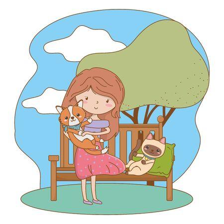 Girl with cat and dog cartoon design