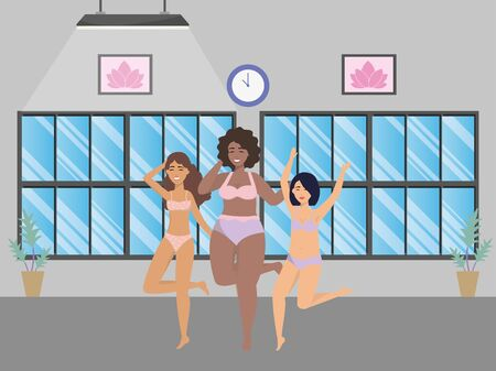 Avatars of a fashion women in underwear design, Girl female person human and beauty theme Vector illustration