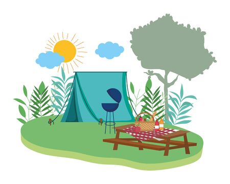 Tent design, Camping forest adventure lifestyle summer travel and outdoor theme Vector illustration