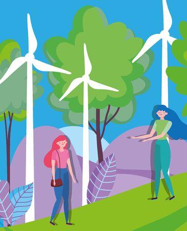 women with windmills renewable energy ecology vector illustration