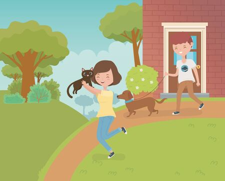 couple with cute little cat and dog in the house garden vector illustration design Illustration