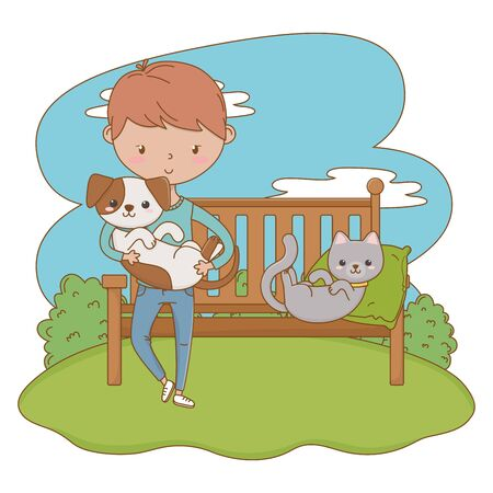 Boy with cat and dog cartoon design, Mascot pet animal domestic cute life nature and fauna theme Vector illustration Illustration