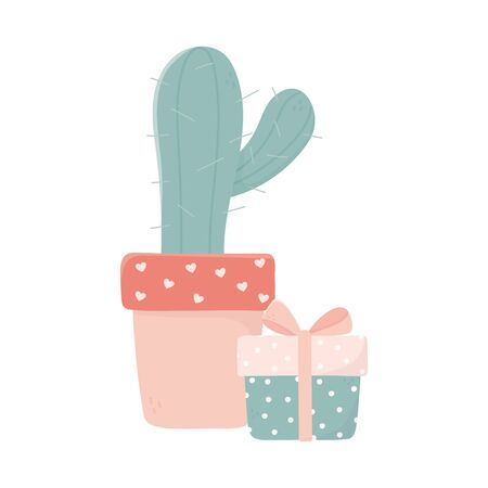 happy valentines day potted cactus and gift box decoration love vector illustration Illustration